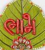 Little India Multicolour Wooden Designer Paan Shape Shubh Labh Door Hanging - Set of 2