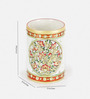 Little India White Marble Golden Meenakari Gem Studded Jali Pen Stand