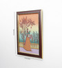 Little India Wooden 9 x 0.5 x 13 Inch Lady Plucking Flowers Pure Gemstone Framed Painting