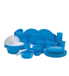 LOCK IT Microwave Cookware Round Dinner Set of 56 Pcs - Blue