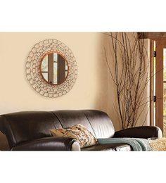 Logam Copper Antique Weave Round Wall Mirror