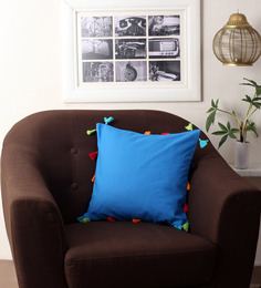Lushomes Blue Cotton 16 X 16 Inch Cushion Cover With Pom Pom - 1497798