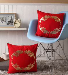 Lushomes Red Cotton 16 X 16 Inch Cushion Covers With Gold Foil Print - Set Of 2 - 1530356