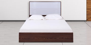 Lukas Queen Size Bed With Hydraulic Storage In White & Walnut Finish By Evok