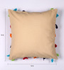 Lushomes Beige Cotton 16 x 16 Inch Cushion Cover with Pom Pom