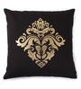Lushomes Black Cotton 16 x 16 Inch Cushion Covers with Gold Foil Print - Set of 2
