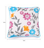 Lushomes Blue Cotton 16 x 16 Inch Flower Printed Cushion Covers with Co-Ordinating Cord Piping - Set of 2