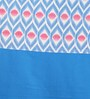Lushomes Blue Cotton 90 x 54 Inch Diamond Printed Bloomberry Door Curtain with 8 Eyelets & Printed Tiebacks - Set of 2