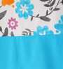 Lushomes Blue Cotton 90 x 54 Inch Flower Printed Bloomberry Door Curtain with 8 Eyelets & Printed Tiebacks - Set of 2
