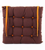 Lushomes Bordeaux & Sand Cotton & Polyester 16 x 16 Inch Half Panama Chair Pad