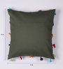 Lushomes Green Cotton 16 x 16 Inch Cushion Cover with Pom Pom