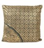 Lushomes Green Cotton 16 x 16 Inch Cushion Covers with Gold Foil Print - Set of 2