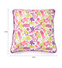 Lushomes Multicolour Cotton 16 x 16 Inch Rain Printed Cushion Covers with Co-Ordinating Cord Piping - Set of 2