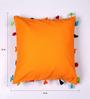 Lushomes Orange Cotton 16 x 16 Inch Cushion Cover with Pom Pom