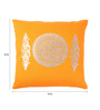 Lushomes Orange Cotton 16 x 16 Inch Cushion Covers with Silver Foil Print - Set of 2