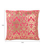 Lushomes Pink Cotton 16 x 16 Inch Cushion Covers with Gold Foil Print - Set of 2