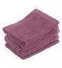 Lushomes Purple Cotton 12 x 12 Face Towel - Set of 6