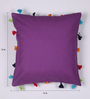 Lushomes Purple Cotton 16 x 16 Inch Cushion Cover with Pom Pom