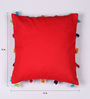Lushomes Red Cotton 16 x 16 Inch Cushion Cover with Pom Pom