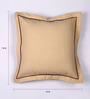 Lushomes Sand Cotton 16 x 16 Inch Half Panama Cushion Covers with French Roast Satin Stitch - Set of 2