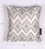 Lushomes White and Grey Polyester 16 x 16 Inch Jacquard Cushion Covers - Set of 2