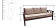 Mariana Teak Wood Three Seater Sofa in Natural Teak Finish by Finesse