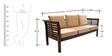 Mariana Teak Wood Three Seater Sofa in Fresh Walnut Finish by Finesse