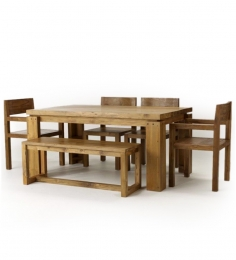 Olida Mango Wood Dining Set (Four Chairs and Bench)