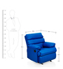 Manual Recliner with Glider in Blue Colour by Comfort Couch