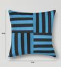 Mapa Home Care Blue & Black Duppioni 16 x 16 Inch Woven Stripes Cushion Cover