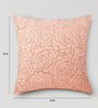 Mapa Home Care Peach Duppioni 16 x 16 Inch Floral Cushion Cover