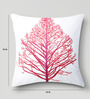 Mapa Home Care White & Pink Cotton 16 x 16 Inch Embroidered Tree Cushion Cover