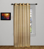 Marigold Beige Polyester 90 x 48 Inch Self-Striped Sheer Door Curtain - Set of 2
