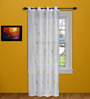 Marigold White Polyester 60 x 43 Inch Leaf Embroidery Sheer Window Curtain - Set of 2