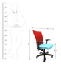 Marina WW Office Ergonomic Chair in Red & Sky Blue Colour by Chromecraft