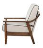 Barquisimeto Beige One Seater Sofa in Brown Oak Finish by CasaCraft