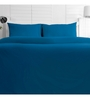 Maspar Blue Cotton Solid 88 x 60 Inch Bed Sheet (with Pillow Cover)