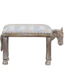 Asvaka Handcrafted Stool with Ikat Fabric in Distress Finish by Mudramark