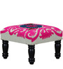 Karmika Stool with Embroidered Fabric by Mudramark