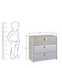McAspen Chest of Three Drawers in Pearl White & Acacia Finish by Mollycoddle