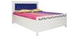 Metal Queen Hydraulic Bed with Storage in Off-White Colour by Diamond Interiors