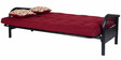 Metallic Three Seater Sofa cum Bed with Maroon Mattress by FurnitureKraft
