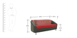 Mexico Three Seater Sofa in Red Colour by Furnitech