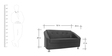 Mexico Two Seater Sofa in Black Colour by Furnitech
