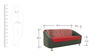 Mexico Two Seater Sofa in Red Colour by Furnitech