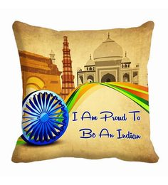 Me Sleep Beige Microfibre 16 X 16 Inch I Am Proud To Be An Indian Digitally Printed Cushion Cover