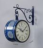 Medieval India Blue Iron 9 x 5.4 x 12.5 Inch Hand Painted Victoria Station Wall Clock