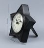 Medieval India Brown Wooden 6.3 x 1.2 x 6.3 Inch Star Shape Numeral Dial Table Clock
