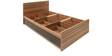 Mike Single Bed with Storage in Light Walnut Finish by @Home