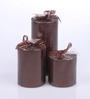 Micasa Brown Glitter Candles - Set of 3